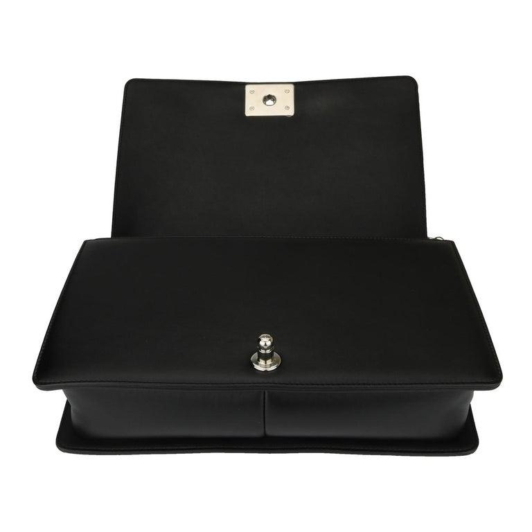 CHANEL New Medium Chevron Boy Bag Black Calfskin with Shiny Silver Hardware 2016 For Sale 8