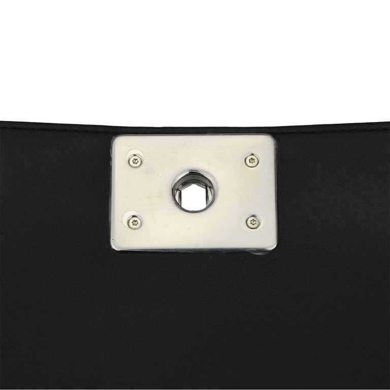CHANEL New Medium Chevron Boy Bag Black Calfskin with Shiny Silver Hardware 2016 For Sale 9