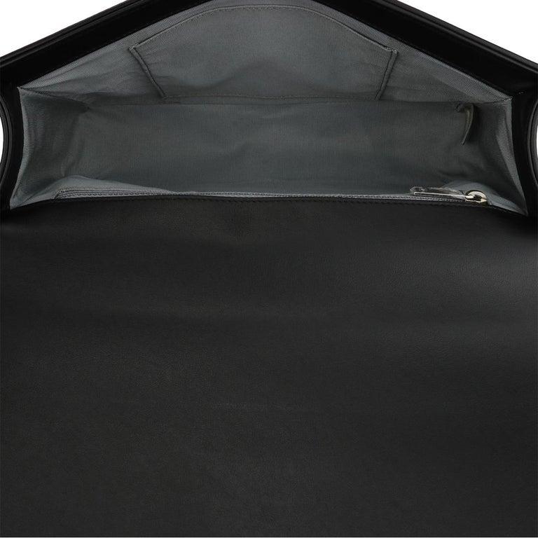 CHANEL New Medium Chevron Boy Bag Black Calfskin with Shiny Silver Hardware 2016 For Sale 11