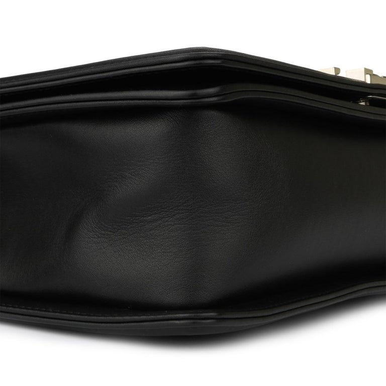 CHANEL New Medium Chevron Boy Bag Black Calfskin with Shiny Silver Hardware 2016 For Sale 5