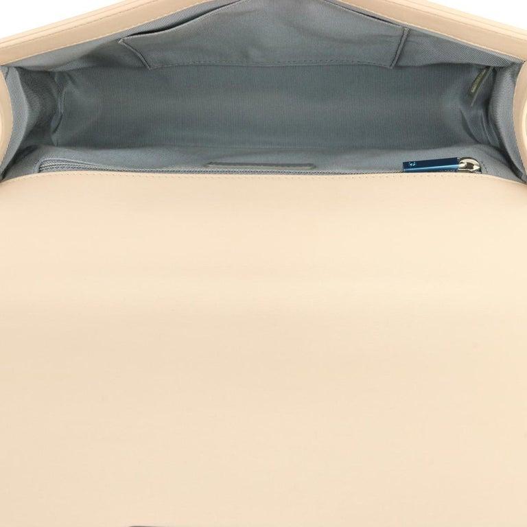 CHANEL New Medium Chevron Boy Bag Nude Calfskin with Silver Hardware 2016 For Sale 7
