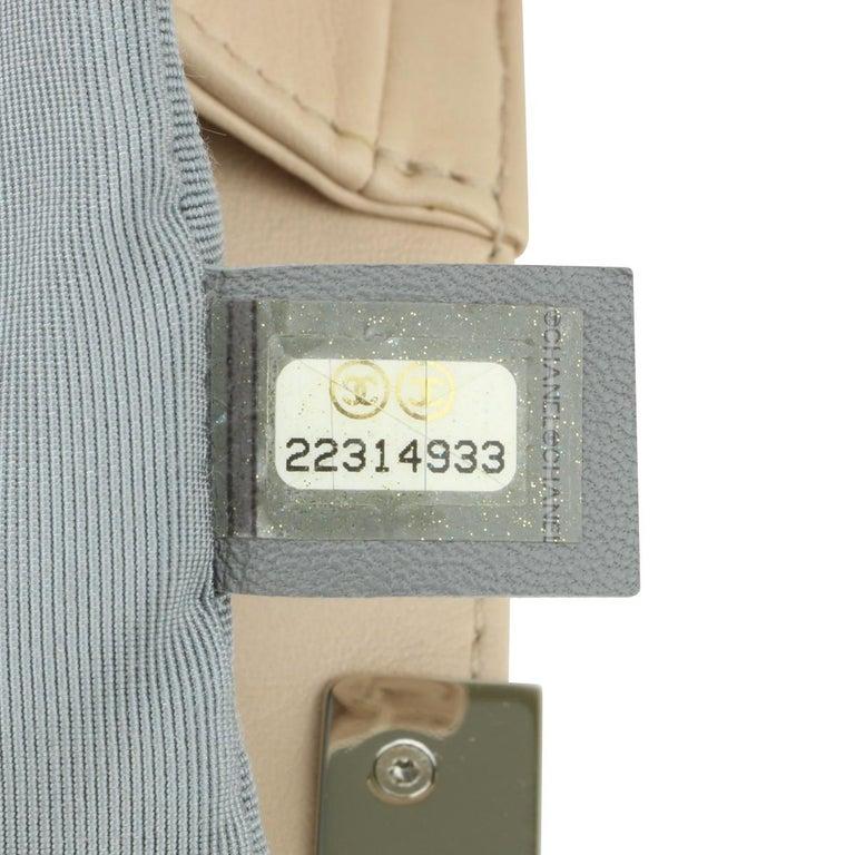 CHANEL New Medium Chevron Boy Bag Nude Calfskin with Silver Hardware 2016 For Sale 9