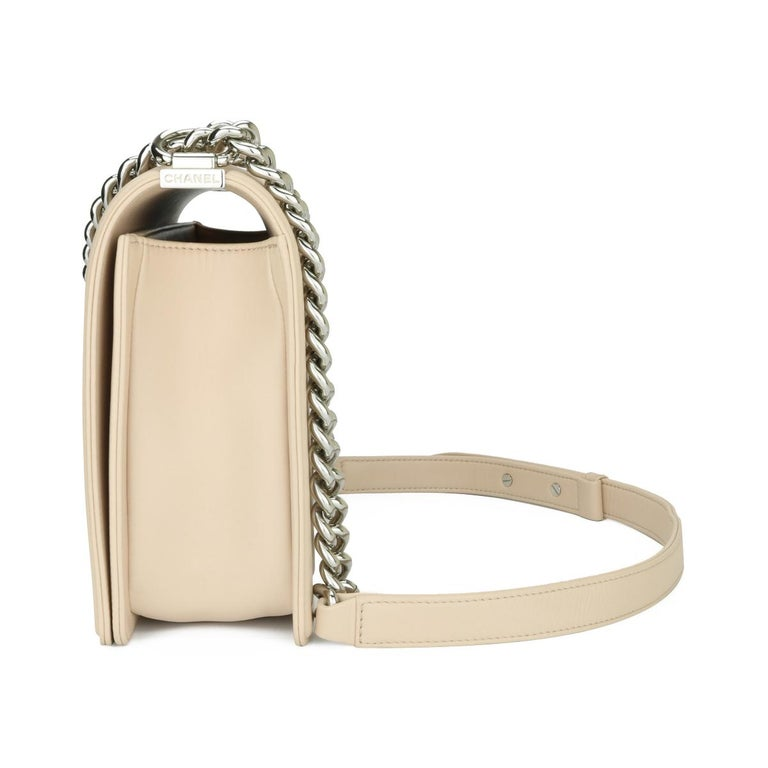 Women's or Men's CHANEL New Medium Chevron Boy Bag Nude Calfskin with Silver Hardware 2016 For Sale