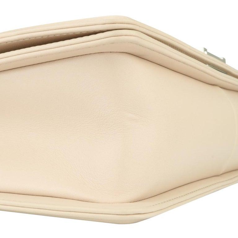 CHANEL New Medium Chevron Boy Bag Nude Calfskin with Silver Hardware 2016 For Sale 3
