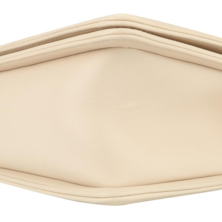 CHANEL New Medium Chevron Boy Bag Nude Calfskin with Silver Hardware 2016 For Sale 4