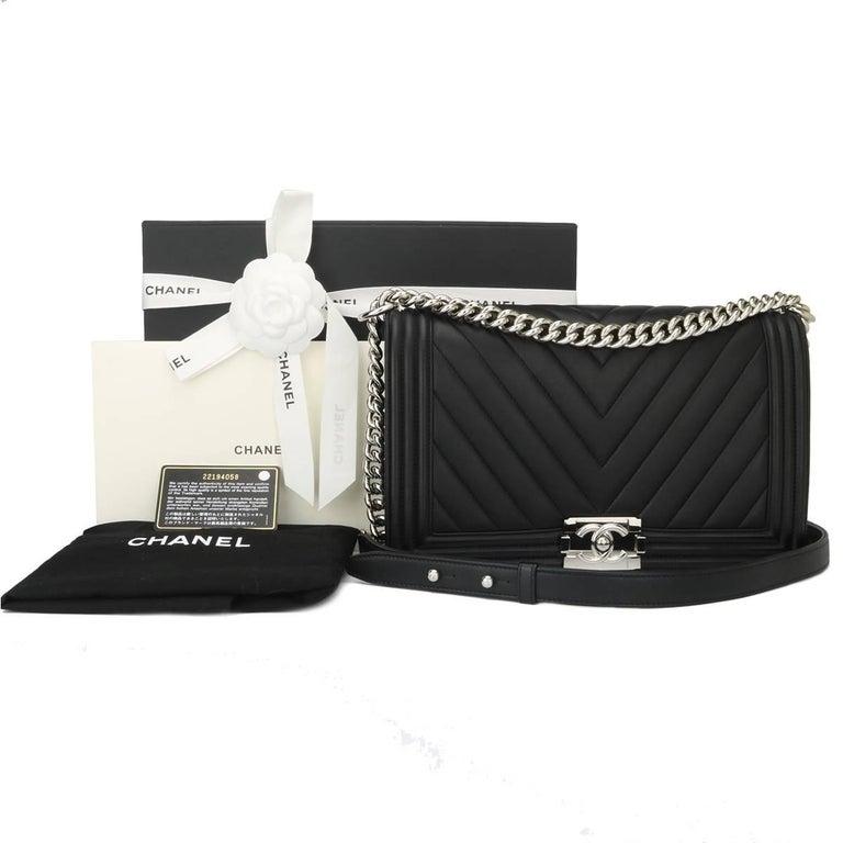 95d9788e6f26 Chanel New Medium Chevron Boy Black Calfskin with Shiny Silver Hardware  2016 For Sale 6