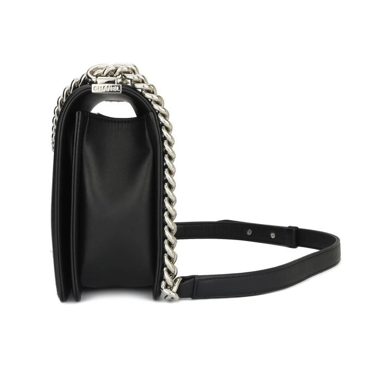 f8ceb0a11fce Chanel New Medium Chevron Boy Black Calfskin with Shiny Silver Hardware  2016 In Excellent Condition For