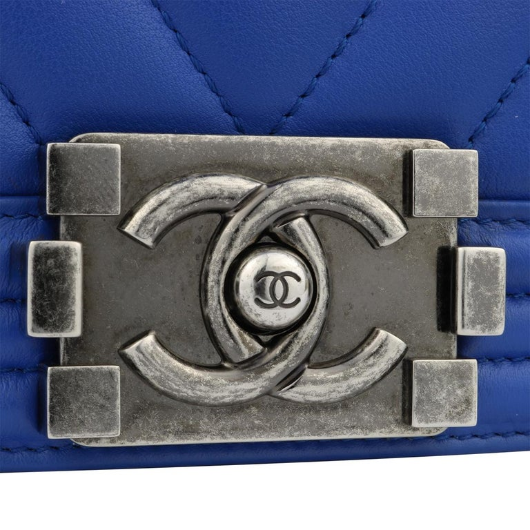 CHANEL New Medium Chevron Boy Blue Calfskin with Ruthenium Hardware 2016 In  Excellent Condition For Sale 9658bdf28a02f