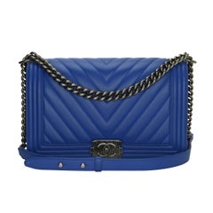 a10b4a73b6aa CHANEL New Medium Chevron Boy Blue Calfskin with Ruthenium Hardware 2016