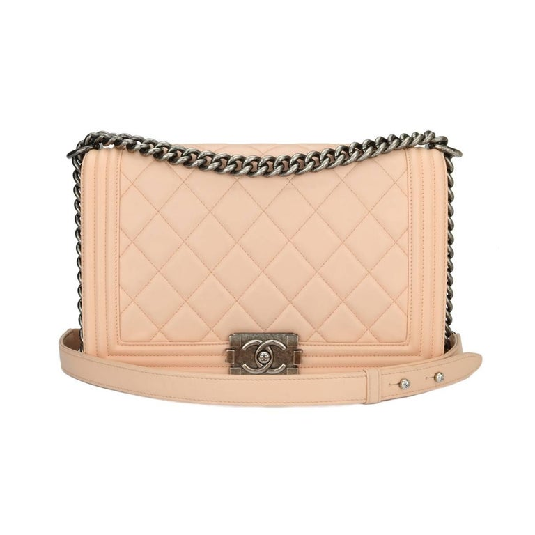 CHANEL New Medium Large Quilt Boy Pink Calfskin with Ruthenium Hardware 2015