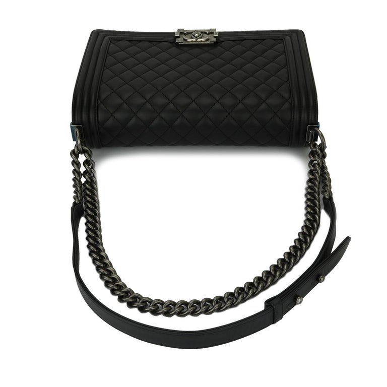4f28122f9dfe CHANEL New Medium Quilted Boy Bag Black Lambskin with Ruthenium Hardware  2016 For Sale 7