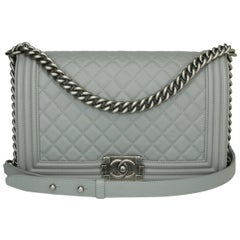 CHANEL New Medium Quilted Boy Bag Grey Calfskin with Ruthenium Hardware 2017