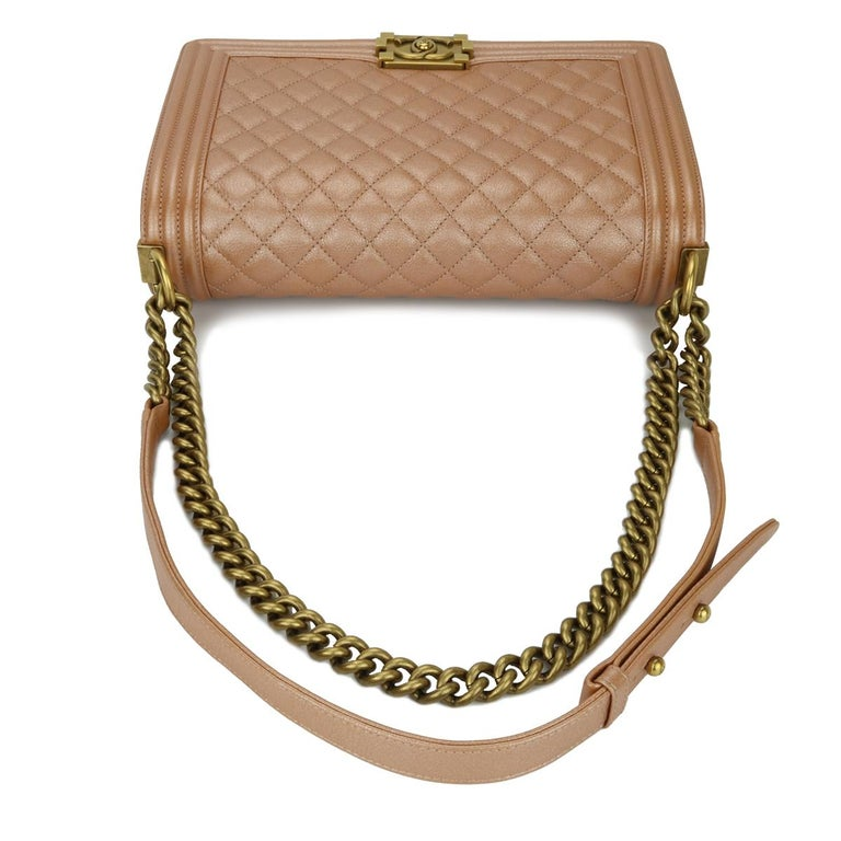 CHANEL New Medium Quilted Boy Bag Iridescent Rose Gold Calfskin with GHW 2015 For Sale 6