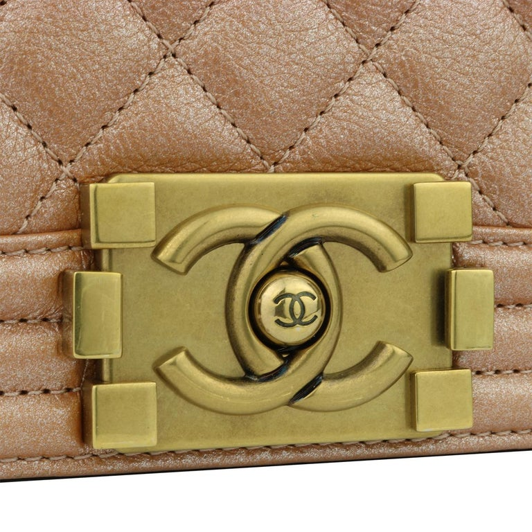Brown CHANEL New Medium Quilted Boy Bag Iridescent Rose Gold Calfskin with GHW 2015 For Sale