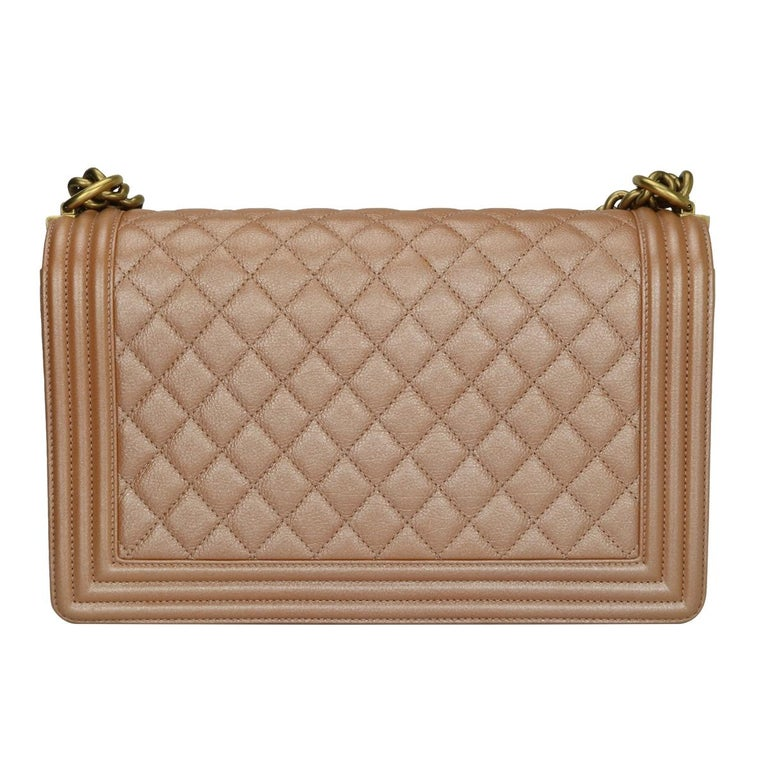 CHANEL New Medium Quilted Boy Bag Iridescent Rose Gold Calfskin with GHW 2015 In Good Condition For Sale In Huddersfield, GB