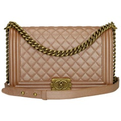CHANEL New Medium Quilted Boy Bag Iridescent Rose Gold Calfskin with GHW 2015
