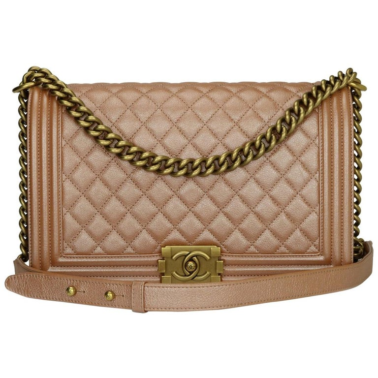 CHANEL New Medium Quilted Boy Bag Iridescent Rose Gold Calfskin with GHW 2015 For Sale