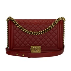 CHANEL New Medium Quilted Boy Bag Red Lambskin with Ruthenium Hardware 2015