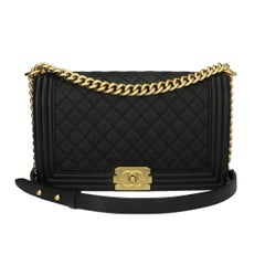 Chanel Medium Quilted Boy Black Caviar with Brushed Gold Hardware, 2016