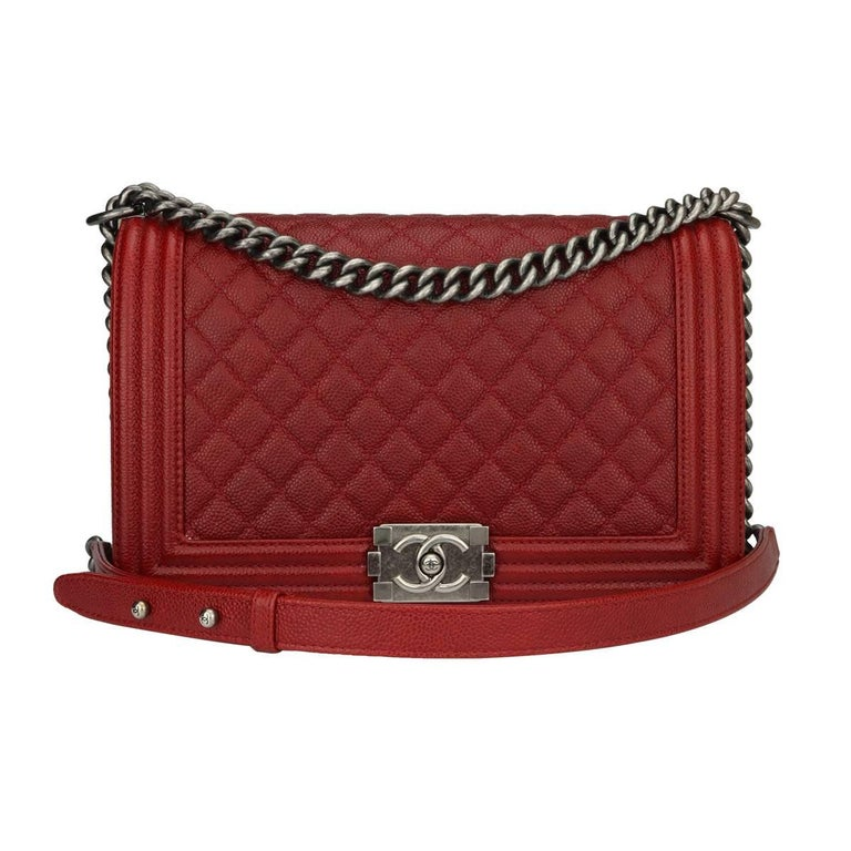 CHANEL New Medium Quilted Boy Rich Red Caviar with Ruthenium Hardware 2015