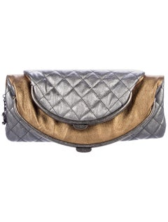 Chanel NEW Metallic Silver Gold Leather Bronze Envelope Evening Clutch Bag