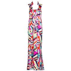 Chanel New Multicolored Print Cut Out Back Maxi Dress Cruise 2016