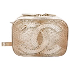 Chanel NEW Nude Gold Python Exotic Top Handle Satchel Shoulder Bag in Box