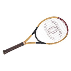 Chanel NEW Oak Wood Brown Red CC Logo Sports Game Novelty Tennis Racquet Racket
