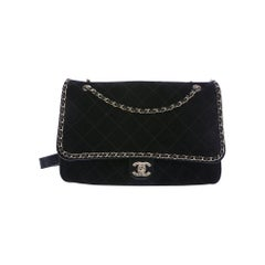 Chanel NEW Pharrell Black Suede Large Travel Carryall Shoulder Flap Bag in Box