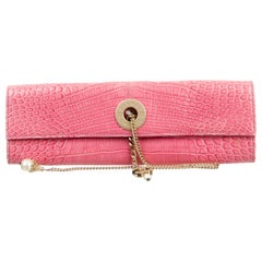 Chanel NEW Pink Crocodile Exotic Gold Chain Envelope Evening Clutch Flap Bag