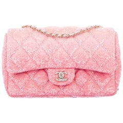 Chanel NEW Pink Two Tone Sequin Gold Small Medium Evening Shoulder Flap Bag