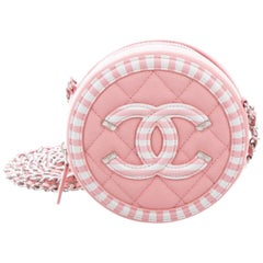 Chanel NEW Pink White Leather Circle Silver Small Evening Shoulder Bag in Box