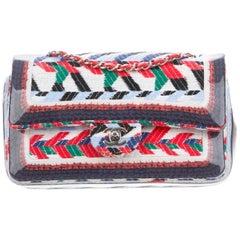 Chanel NEW Red White Blue Green Tweed Evening Medium Shoulder Flap Bag