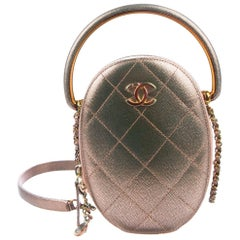 Chanel NEW Rose Gold Rainbow Quilted Top Handle Evening Shoulder Flap Bag in Box