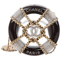 Chanel NEW Runway Black Crystal Gold Round Evening Clutch Shoulder Bag in Box