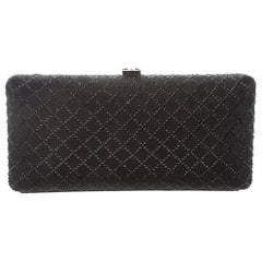 Chanel NEW Runway Black Crystal Leather Envelope Evening Clutch Bag in Box