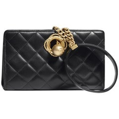 Chanel NEW Runway Black Gold Wristlet Clutch Top Handle Evening Shoulder Bag