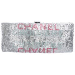 Chanel NEW Runway Black Leather Gold Brooch Envelope Evening Clutch Bag in Box