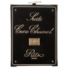 Chanel NEW Runway Black Leather Gold KissLock Square Box Evening Shoulder Bag