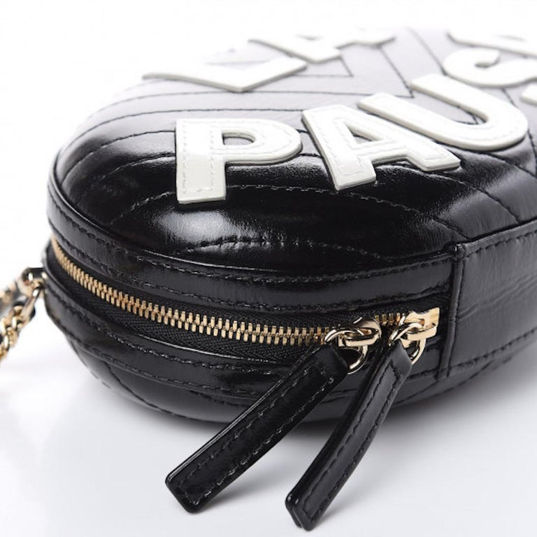 Chanel NEW Runway Black Leather White Gold Round Evening Shoulder Chain Bag In New Condition For Sale In Chicago, IL