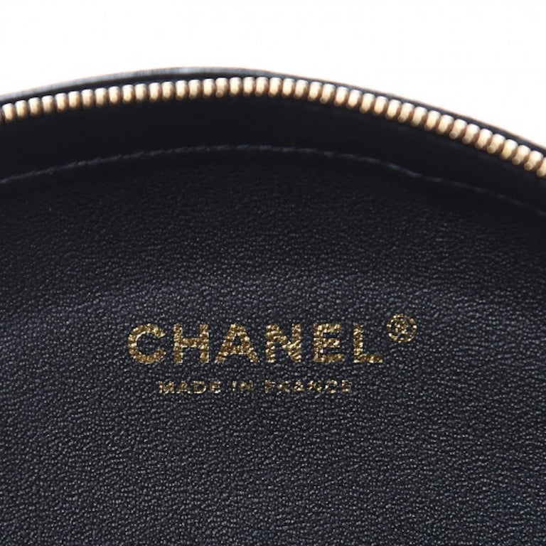 Chanel NEW Runway Black Leather White Gold Round Evening Shoulder Chain Bag For Sale 1