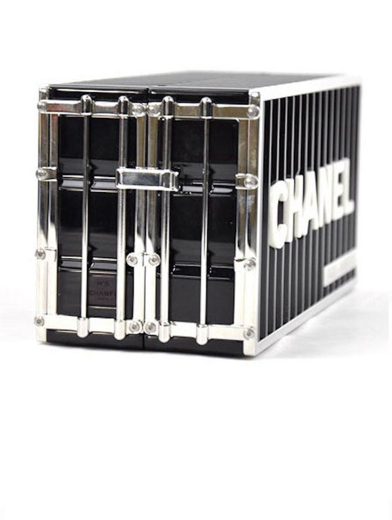 Chanel NEW Runway Black Silver Paris Rectangle Box 2 in 1 Clutch Shoulder Bag in Box   Resin Metal Leather Silver tone hardware  Leather lining Flip lock clousure Date code present Made in Italy Measures 7.5