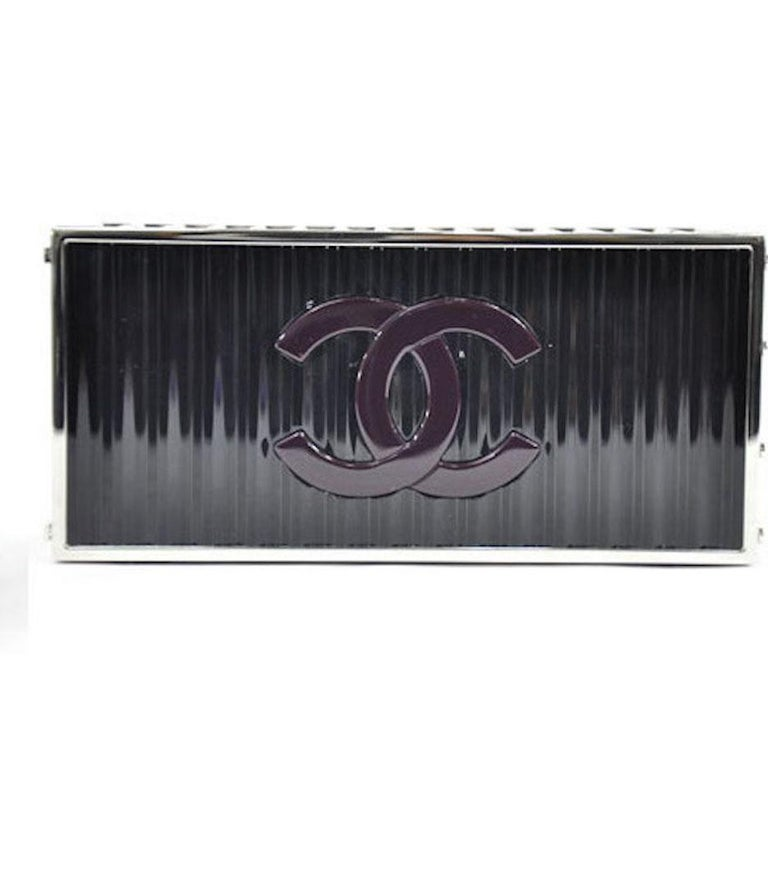 Chanel NEW Runway Black Silver Rectangle Box 2 in 1 Clutch Shoulder Bag in Box  In New Condition For Sale In Chicago, IL