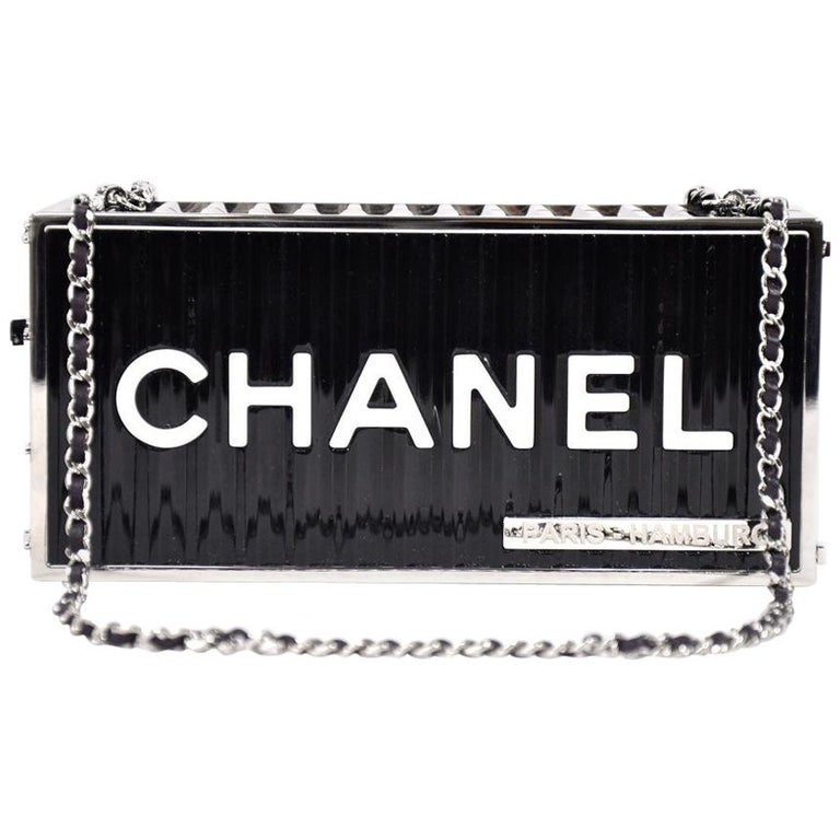 Chanel NEW Runway Black Silver Rectangle Box 2 in 1 Clutch Shoulder Bag in Box  For Sale