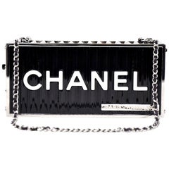 Chanel NEW Runway Black Silver Rectangle Box 2 in 1 Clutch Shoulder Bag in Box