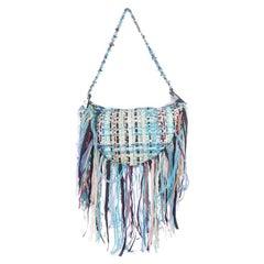 Chanel NEW Runway Blue Tweed Fringe Large Carryall Beach Travel Shoulder Bag