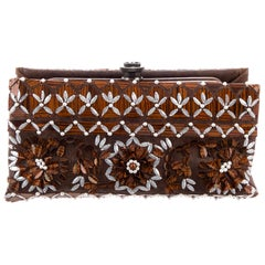 Chanel NEW Runway Brown Leather Bead Evening Envelope Clutch Flap Bag in Box
