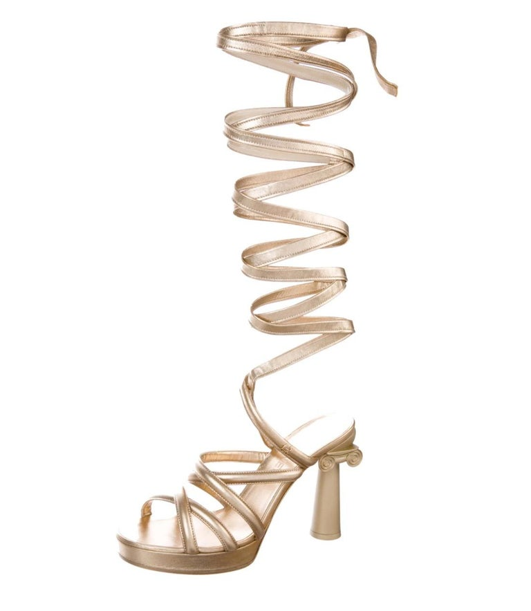 Chanel NEW Runway Champagne Gold Leather Tie Up  Evening Sandals Heels in Box In New Condition In Chicago, IL