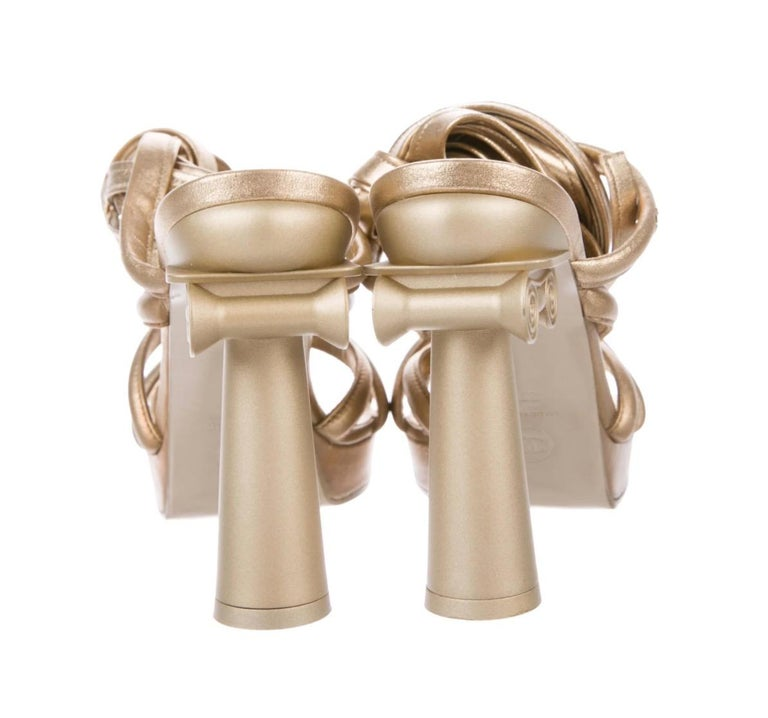 Women's Chanel NEW Runway Champagne Gold Leather Tie Up  Evening Sandals Heels in Box For Sale