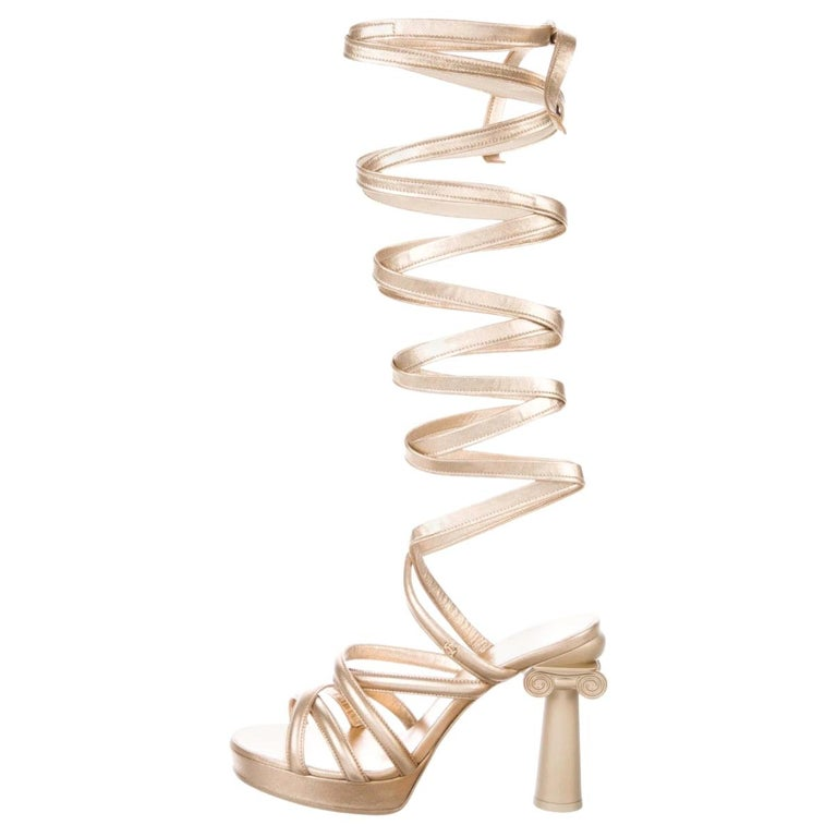 Chanel NEW Runway Champagne Gold Leather Tie Up  Evening Sandals Heels in Box For Sale